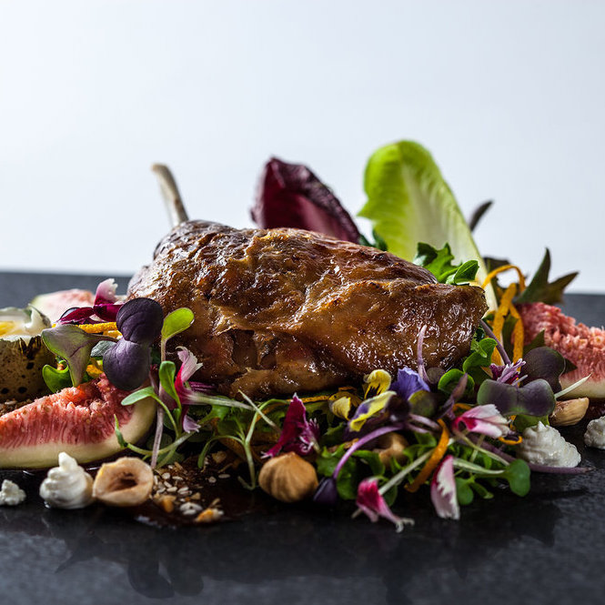 Peter Ansell's confit duck served on a bed of flowers
