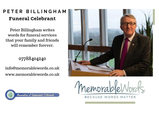Peter Billingham Funeral Celebrant Contact Card