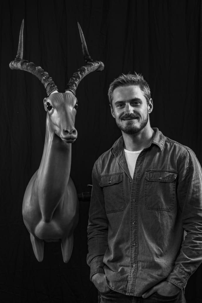 Travis with a Anatomical Sculpture of an Impala Antelope, designed for a Bespoke Taxidermy Mount.