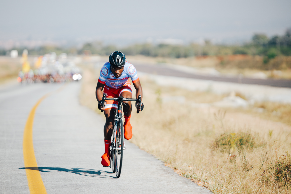 Oupa Maluleke (Proud Beginners) launches an attack in the opening kilometres on Stage 1 of the Tour de Limpopo from Polokwane to Tzaneen on Monday 23 April 2018 © HaydsBrown