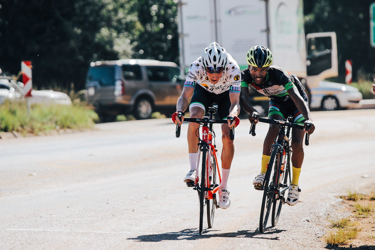 At 25.5km, James Fourie (ProTouch Sports) in the polka jersey and Jan Montshiao (Sampada) broke away from a group of riders with Fourie claiming the first of three King of the Mountain hotspots at 26.6kmon Stage 2 of the Tour de Limpopo from Tzaneen to Tzaneen on Tuesday 24 April 2018 © HaydsBrown