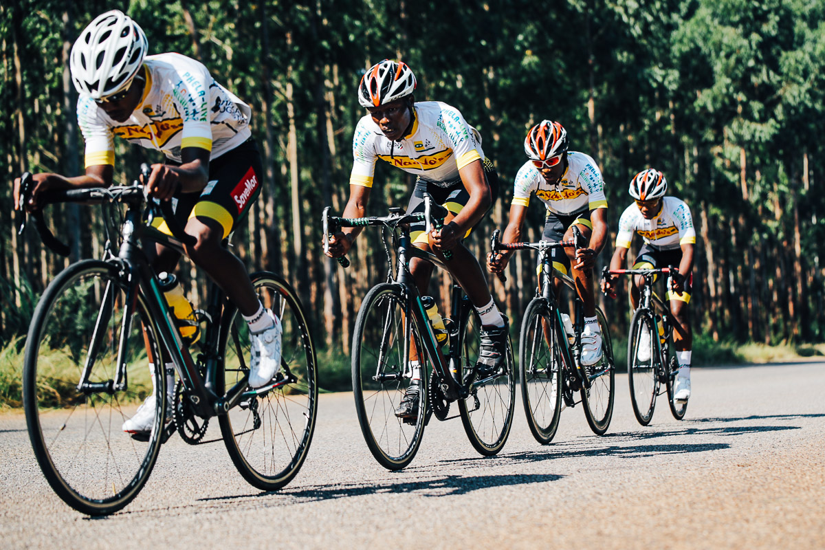 MTN Khemani Cycling Team's Lungelo Mlangeni, Muzi Shabangu, Mduduzi Mzwane and Sicelo Phiri from Swaziland in the Team Time Trial on Stage 3 of the Tour de Limpopo in Tzaneen on Wednesday 25 April 2018 © HaydsBrown
