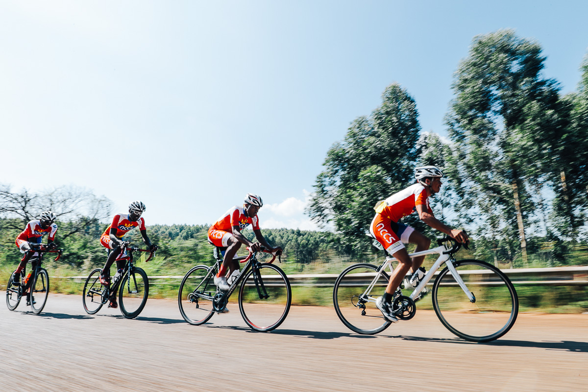 Team NCCS's Fiffy Kashululu, Marckernzy Eiseb, Dekoe Danzel and Amukushu Jafet from Namibia in the Team Time Trial on Stage 3 of the Tour de Limpopo in Tzaneen on Wednesday 25 April 2018 © HaydsBrown