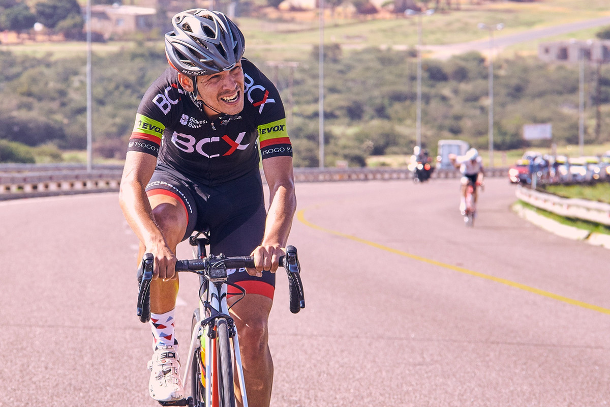 David Maree (Team MCB) digs deep to keep ahead of the pack on Stage 4 of the Tour de Limpopo from Tzaneen to Polokwane on Thursday 26 April 2018 © hilensmike