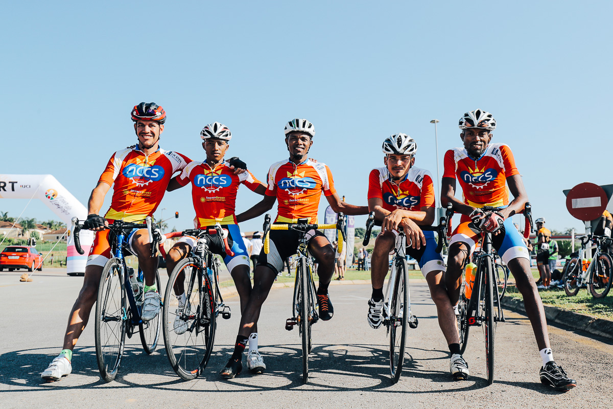 Marckernzy Eiseb (far left) and Danzel Dekoe (2nd from right) of Team NCCS Namibia are featured in the line up for the 2019 edition of the Tour de Limpopo (UCI 2.2) from 14-18 May © TourDeLimpopo/HaydsBrown