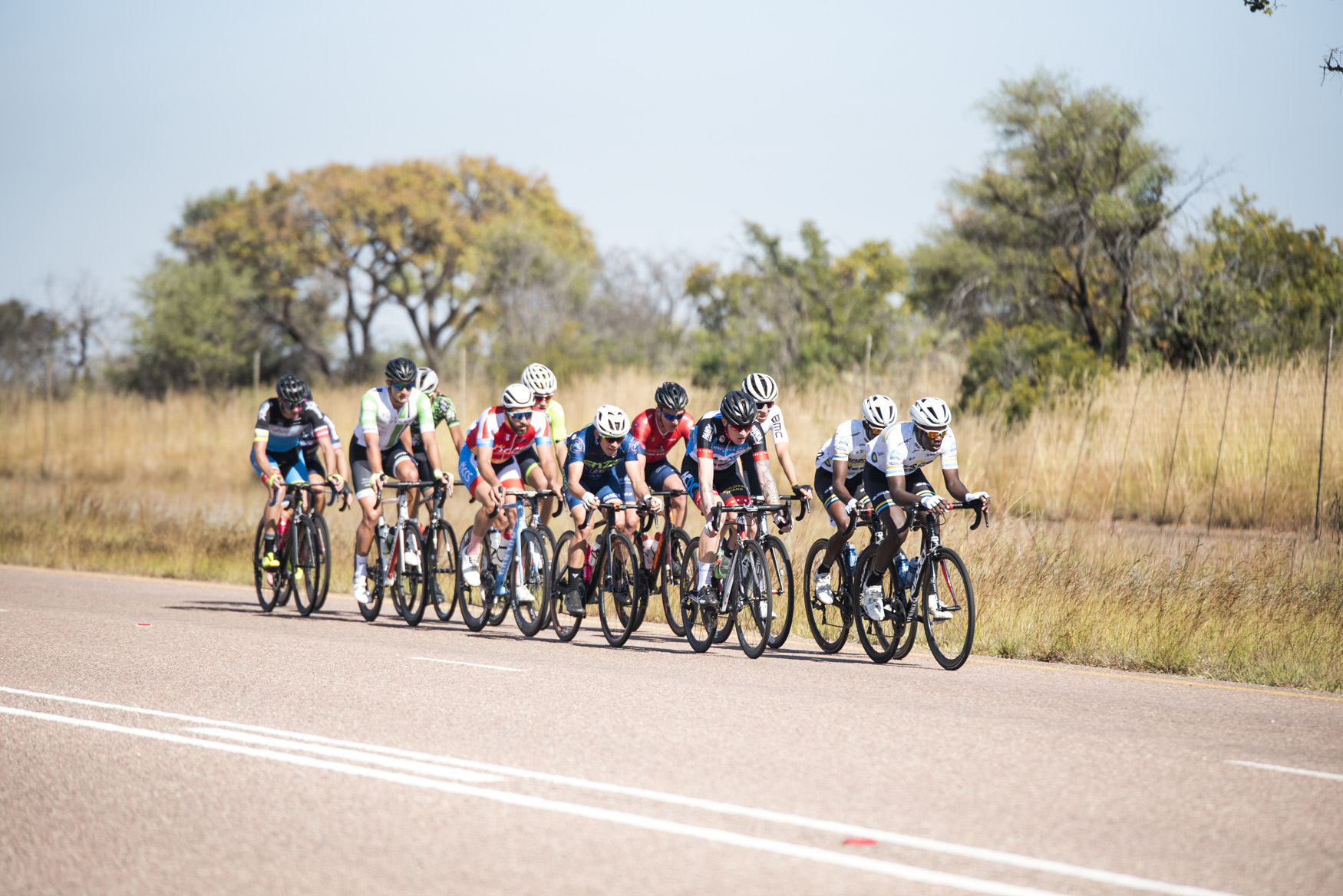 The final 12 riders in the lead group had representation from ProTouch Continental, Team Dimension Data Continental Team, TEG Continental, Officeguru Racing, Proud Beginners and Velo Schils from Bela Bela to Polokwane on Stage 1 of the 2019 Tour de Limpopo (UCI 2.2) from 14-18 May © Tour de Limpopo/Andrew Mc Fadden