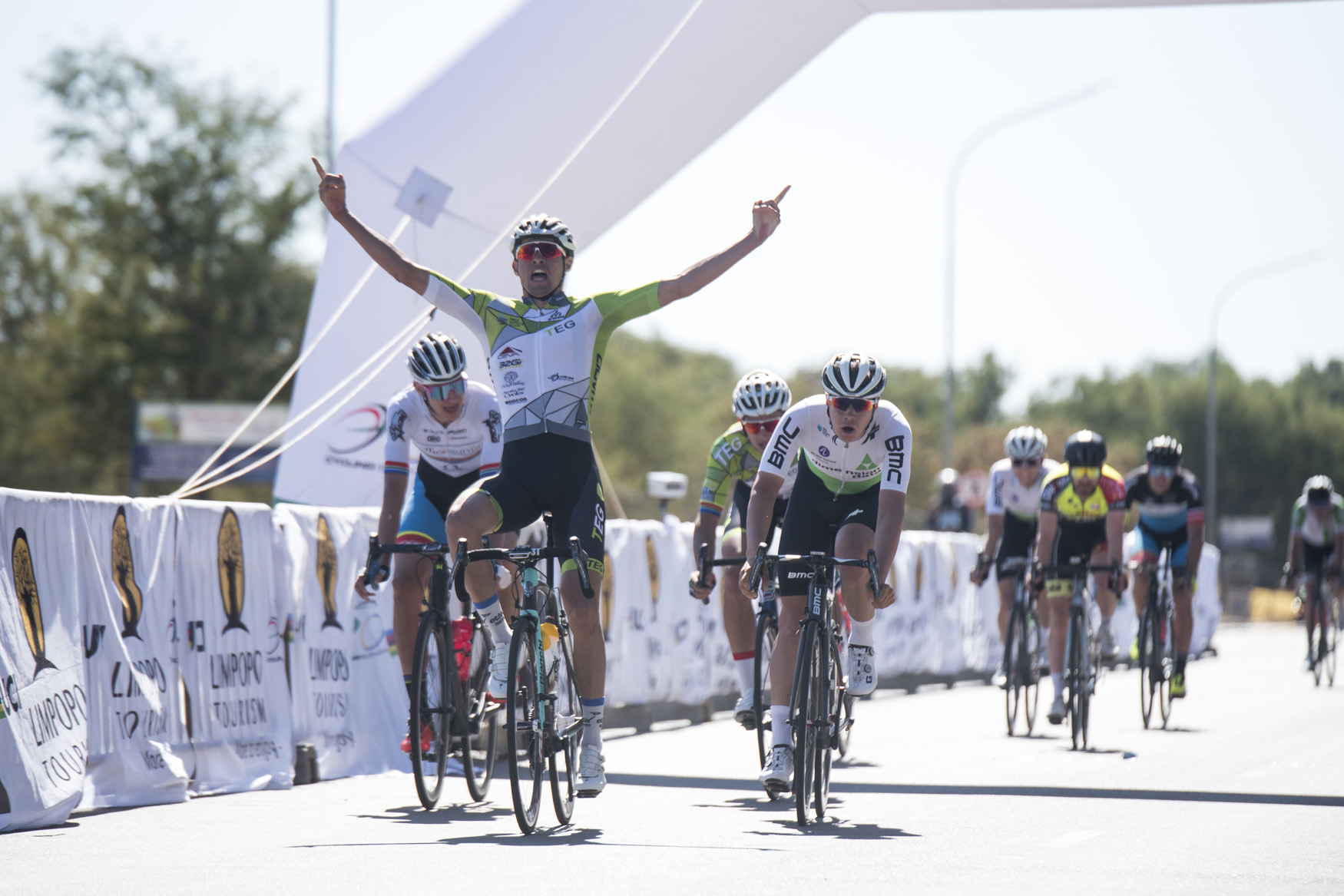The look of victory when Gustav Basson (TEG Continental) crosses the finish line to take the win from Bela Bela to Polokwane on Stage 1 of the 2019 Tour de Limpopo (UCI 2.2) from 14-18 May © Tour de Limpopo/Andrew Mc Fadden