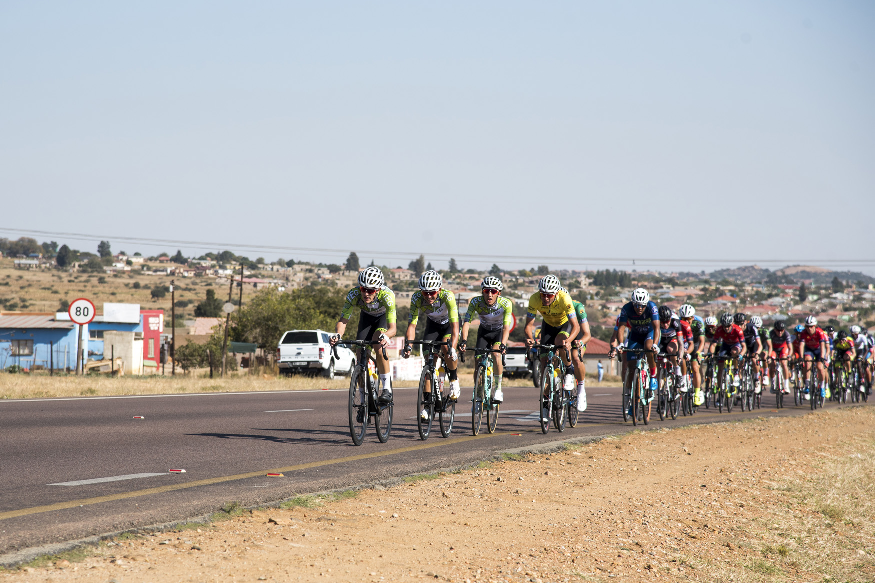 TEG Continental with their yellow and green jersey riders in tow drive the pace hard early in the race from Polokwane to Tzaneen on Stage 2 of the 2019 Tour de Limpopo (UCI 2.2) from 14-18 May © Tour de Limpopo/Andrew Mc Fadden