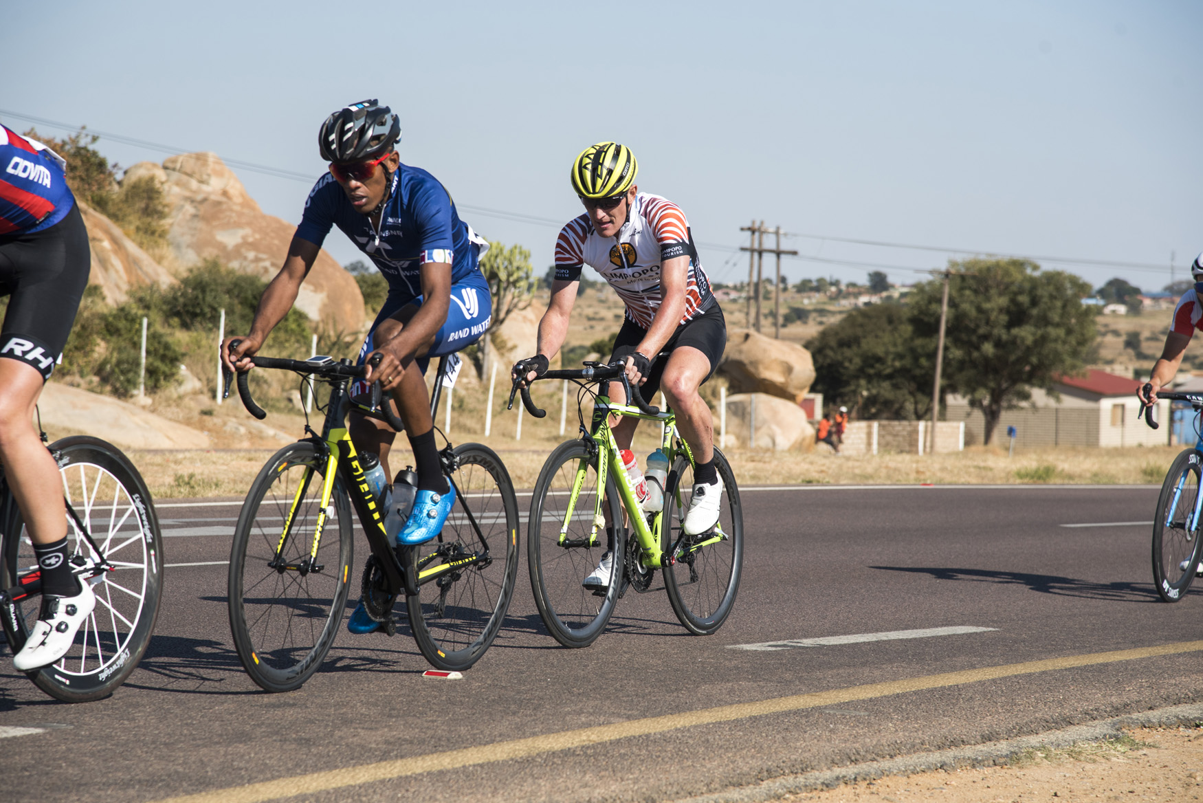 Alan Gordon from the Limpopo provincial team recovered from the crash to join the peloton from Polokwane to Tzaneen on Stage 2 of the 2019 Tour de Limpopo (UCI 2.2) from 14-18 May © Tour de Limpopo/Andrew Mc Fadden