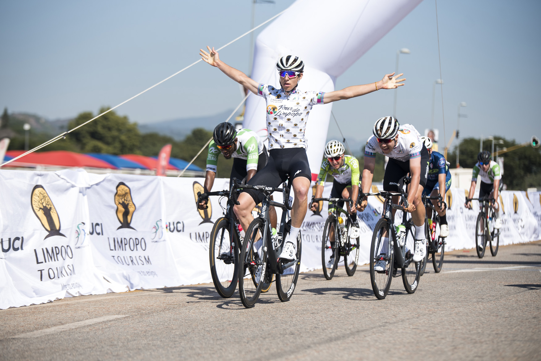 Team Dimension Data Continental's Connor Brown raises his arms in victory after winning the stage in 2:16:46 from Polokwane to Tzaneen on Stage 2 of the 2019 Tour de Limpopo (UCI 2.2) from 14-18 May © Tour de Limpopo/Andrew Mc Fadden