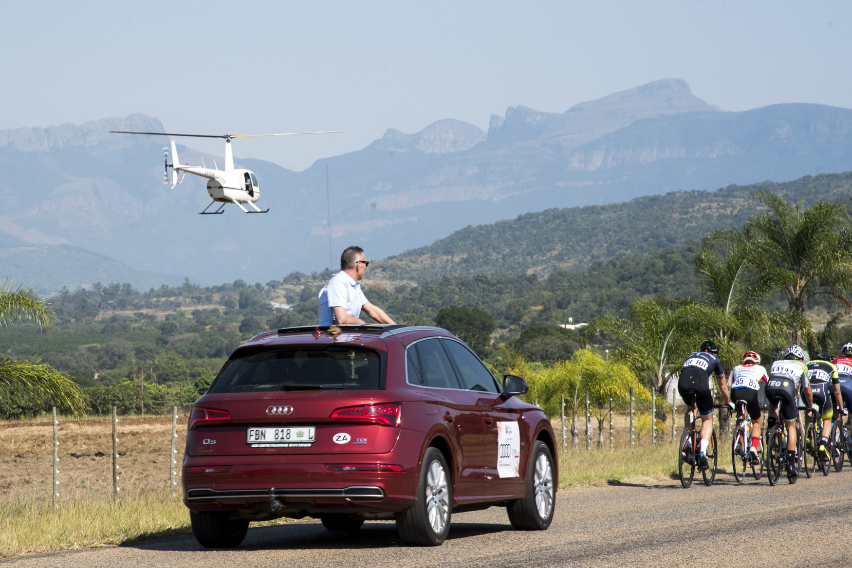 Dutch President Commissaire Mr Erwin Kistemaker keeps his eye on the peloton from Tzaneen to Old Coach Road, Mt. Agatha, on Stage 3 of the 2019 Tour de Limpopo (UCI 2.2) from 14-18 May © Tour de Limpopo/Andrew Mc Fadden
