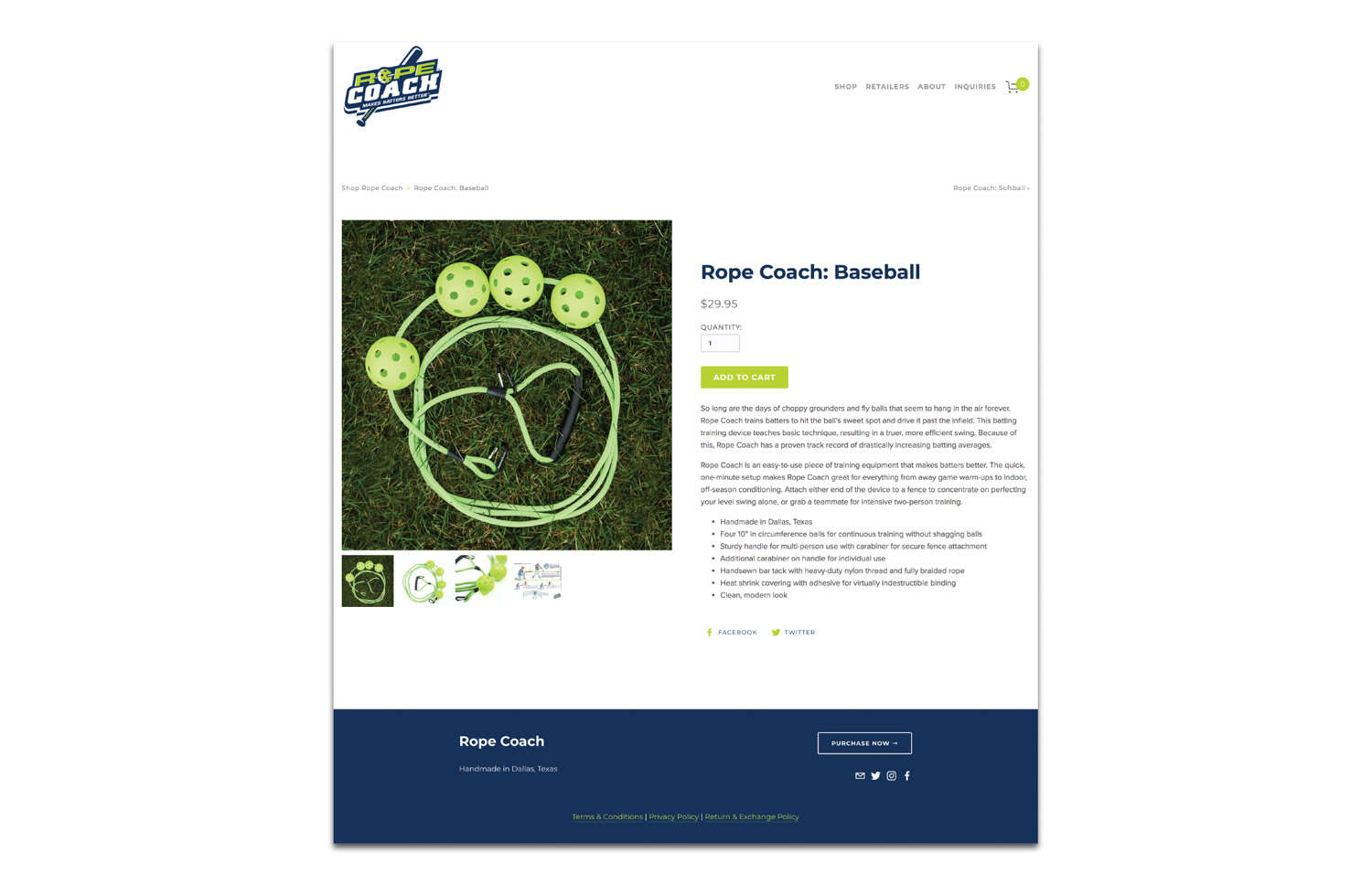 Rope Coach's Squarespace website design and development by Current 120.