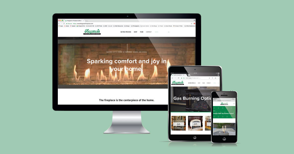 Traverse City's premiere fireplace store, Ferguson's Fireplace & Stove Center's website designed and developed by Current 120.
