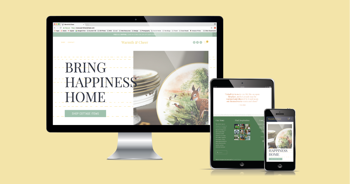 Traverse City's curated vintage store, Warmth & Cheer's eCommerce website designed and developed by Current 120.