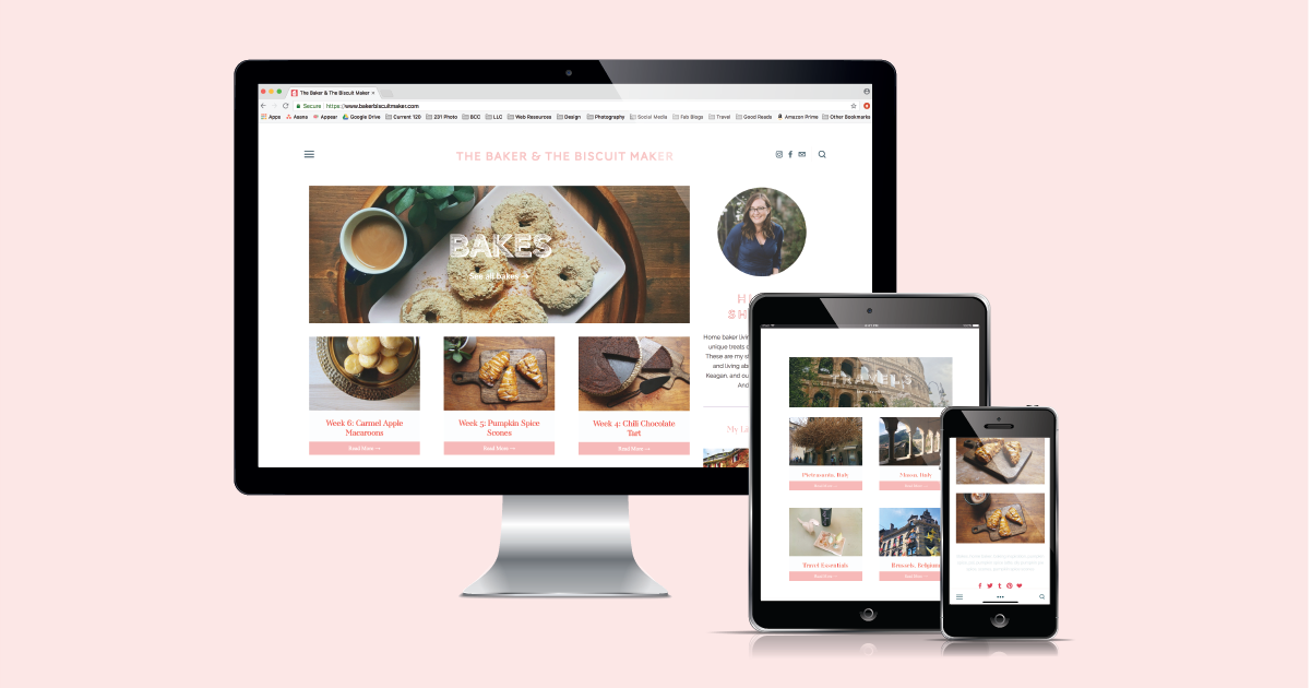 Current 120 web design and website development for food and baking blog, The Baker & the Biscuit Maker.