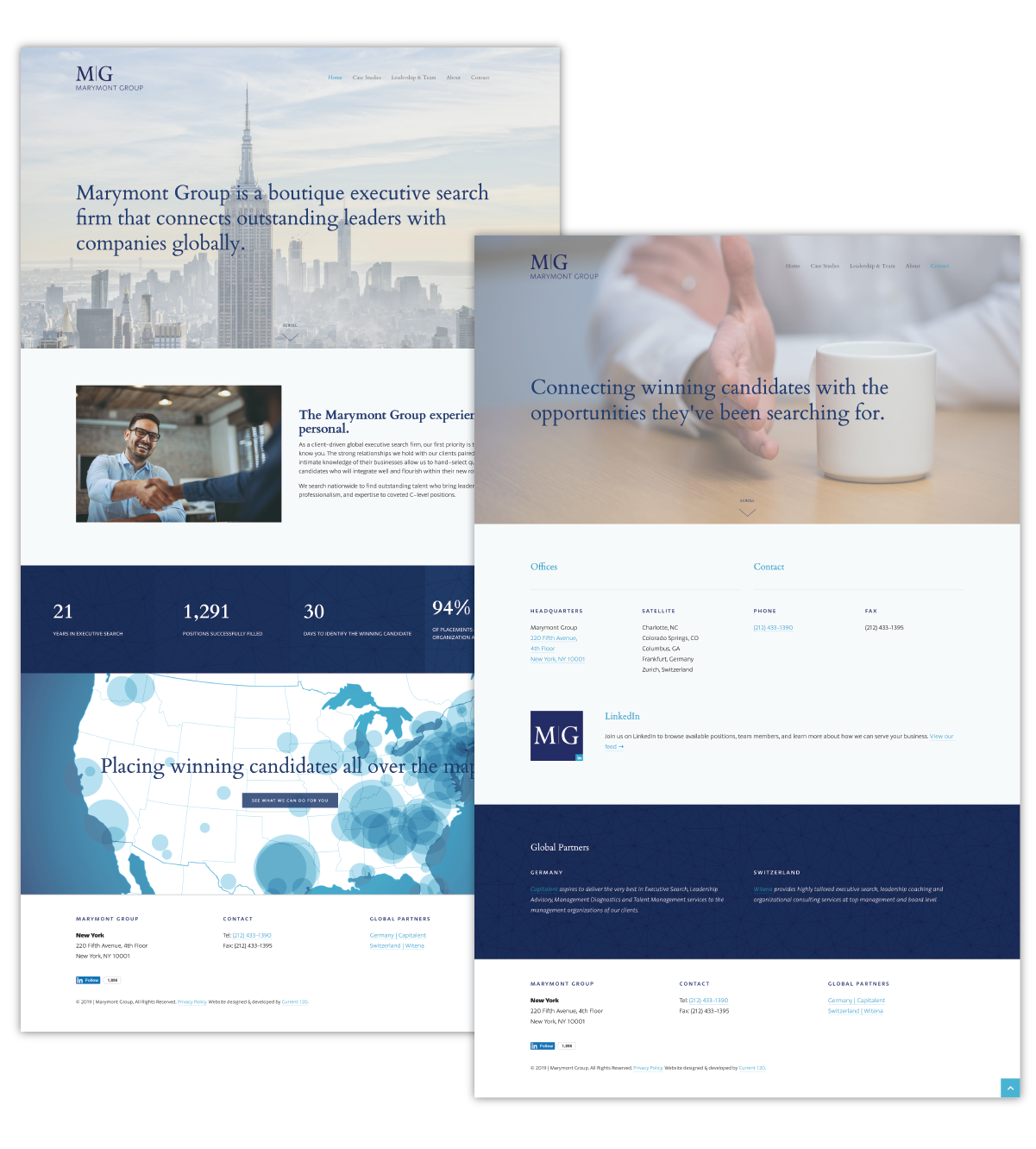 Current 120's website design and website development for New York City's Marymont Group.