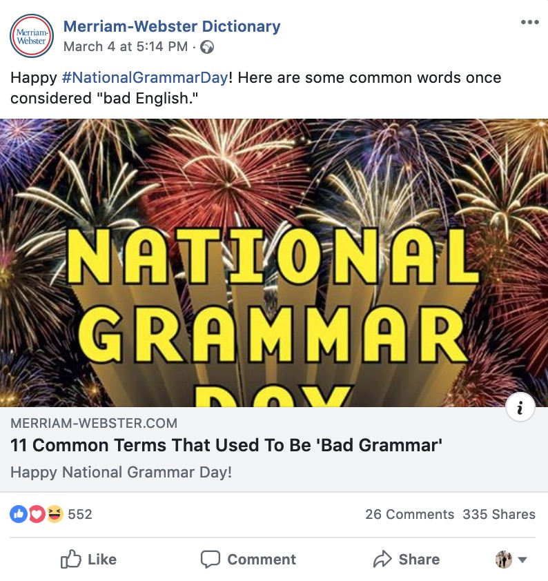 Merriam-Webster celebrates #NationalGrammarDay