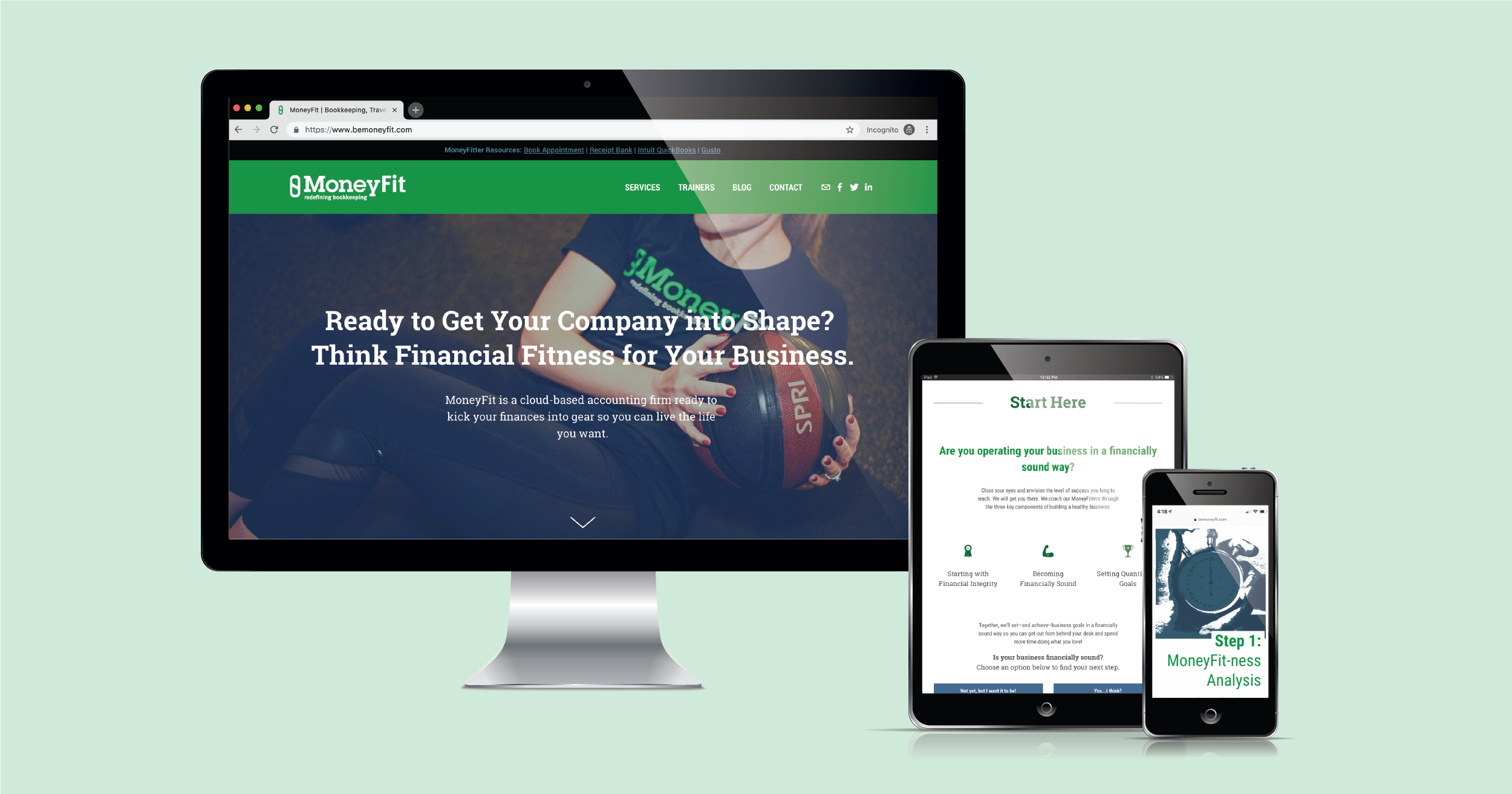 Current 120's website design and website development for Traverse City's MoneyFit.