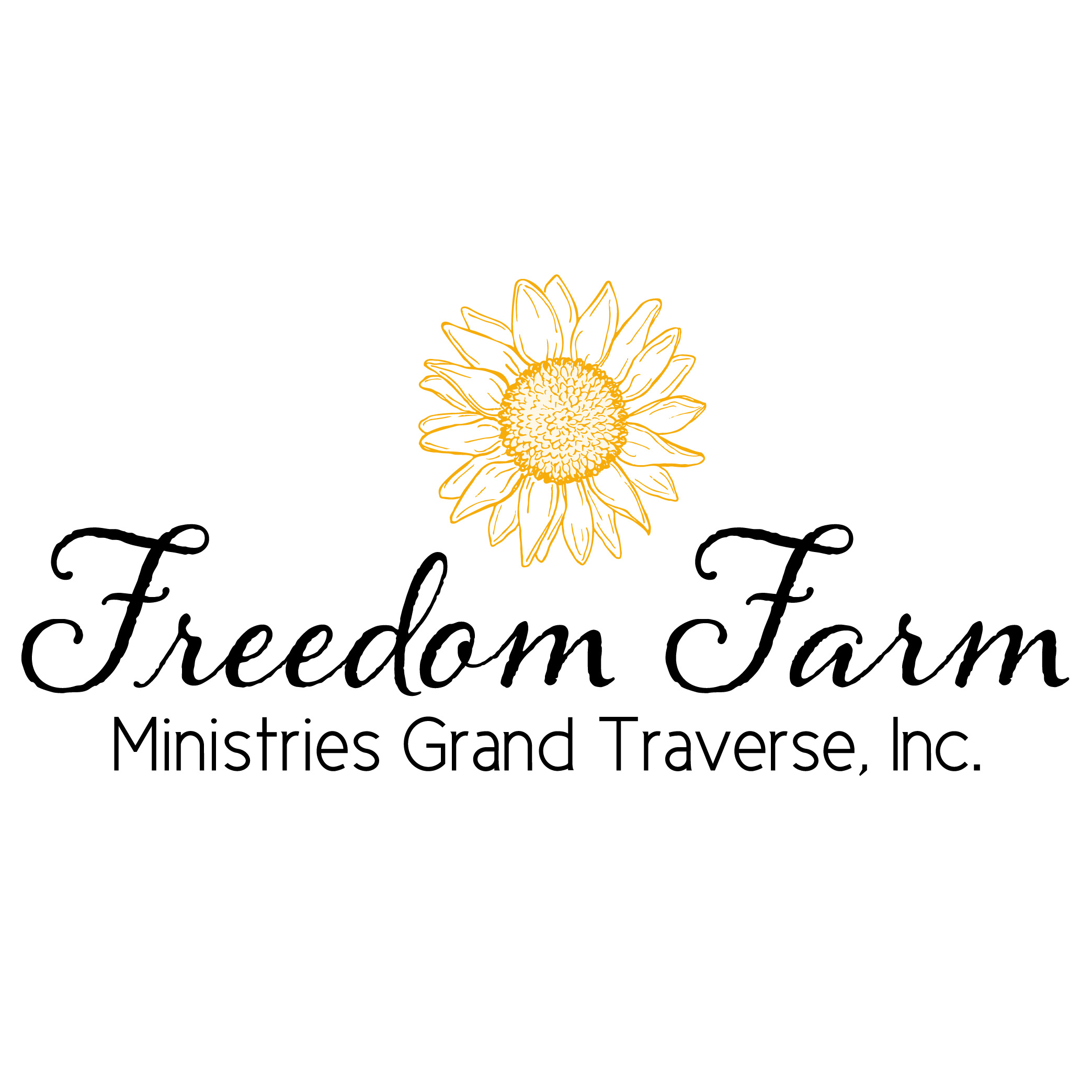 LOGO DESIGN: - Freedom Farm's brand is symbolic of the women they serve. Sunflowers follow the sun and are a symbol of hope and beauty, which is what Freedom Farm aims to bring to its community. Accented with a deep brown script font, the logo perfectly represents the nature of the hands-on therapy provided by the ministry.