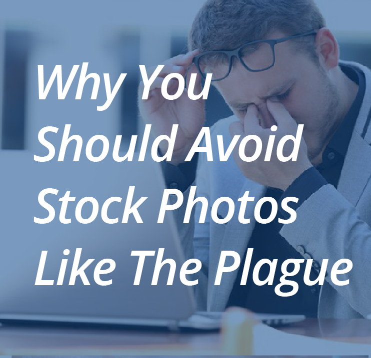 Man with headache from looking at terrible stock photos. Current 120 Blog: Why you should avoid stock photos like the plague.