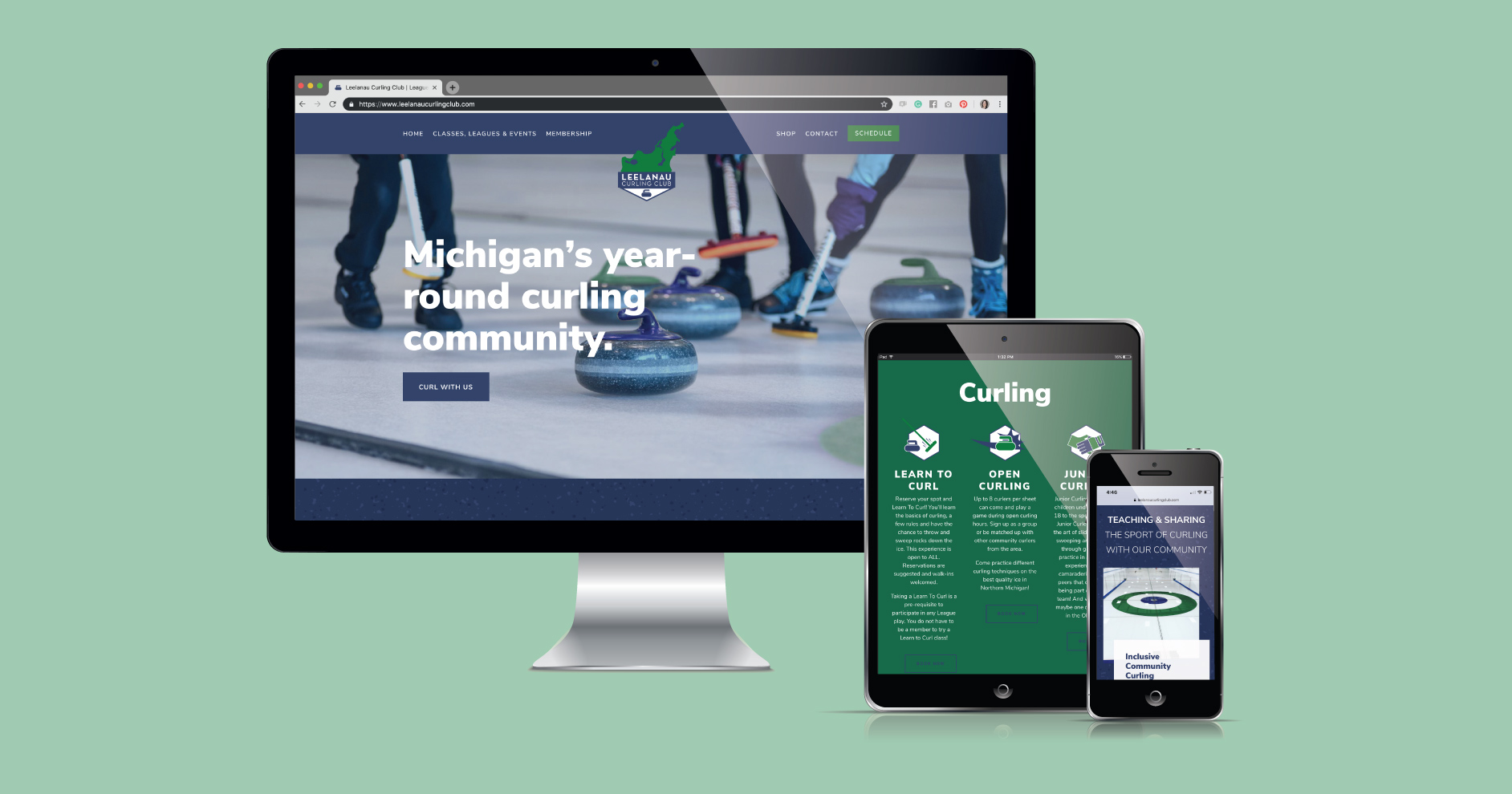 Bold and colorful Squarespace website design inspiration by Current 120 for Maple City, Michigan's Leelanau Curling Club.