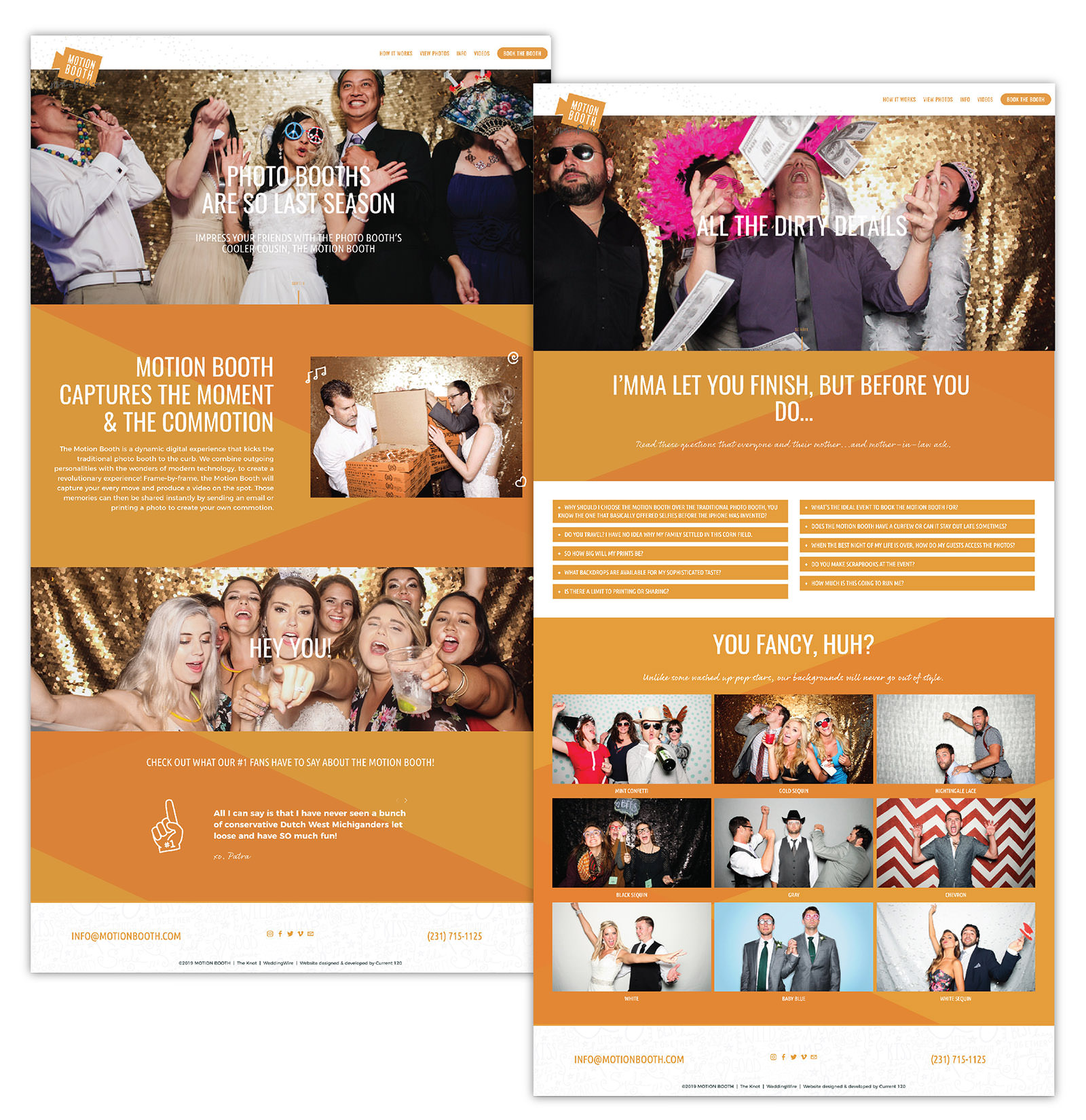 Bold and fun Squarespace website design inspiration by Current 120 for Northern Michigan's cooler photobooth service, the Motion Booth