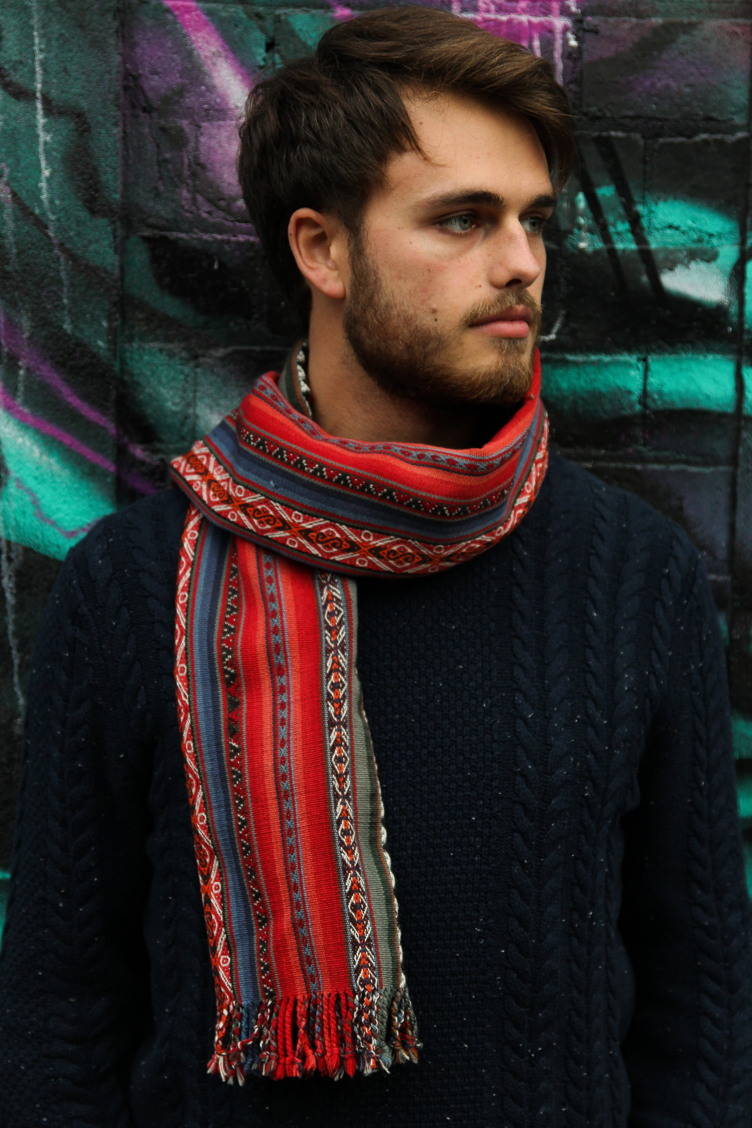 Harry Janes, featuring a handmade alpaca scarf from Chinchero, Peru