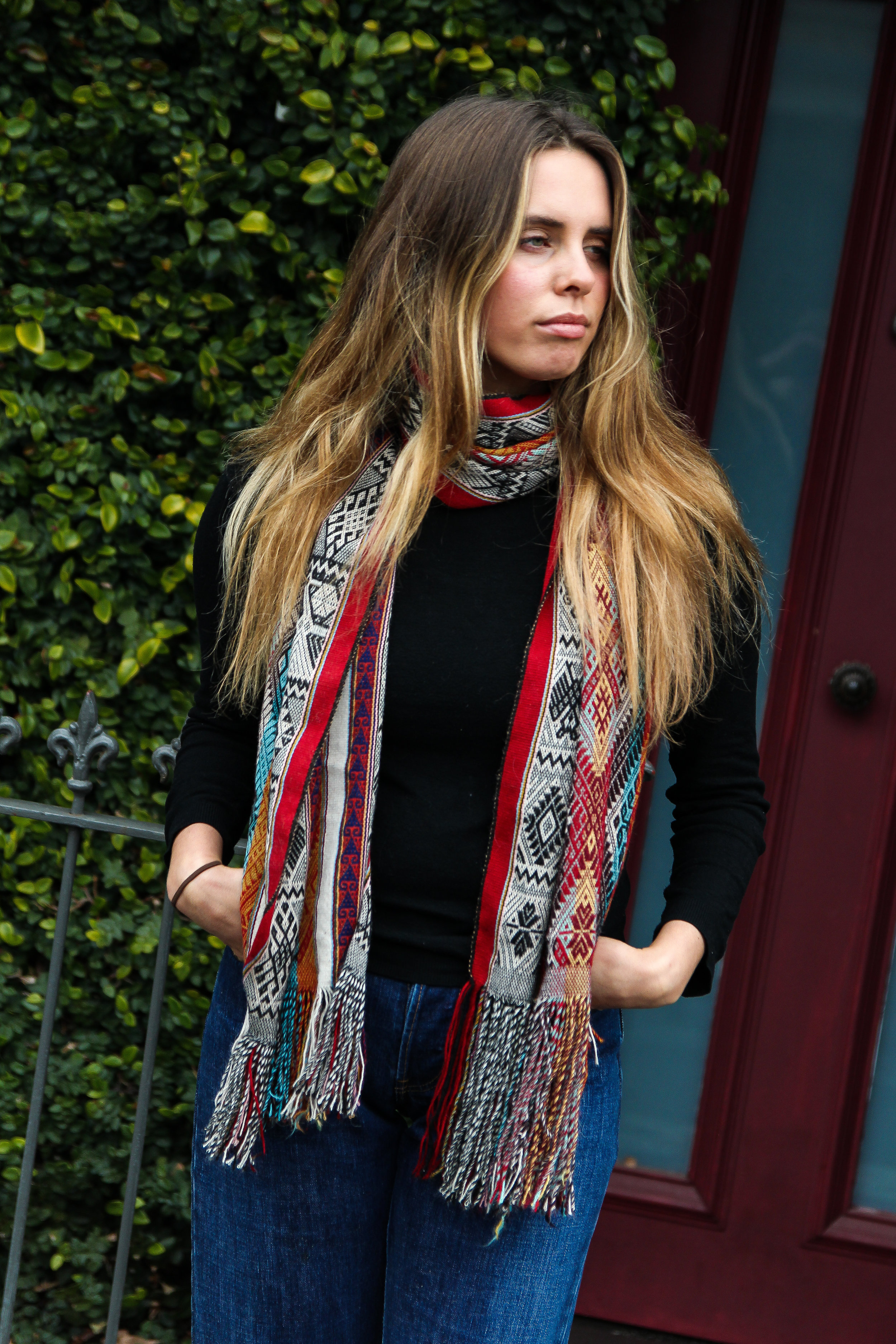 Melbourne, Australia, 2018- Caitlyn modelling the Peruvian scarves