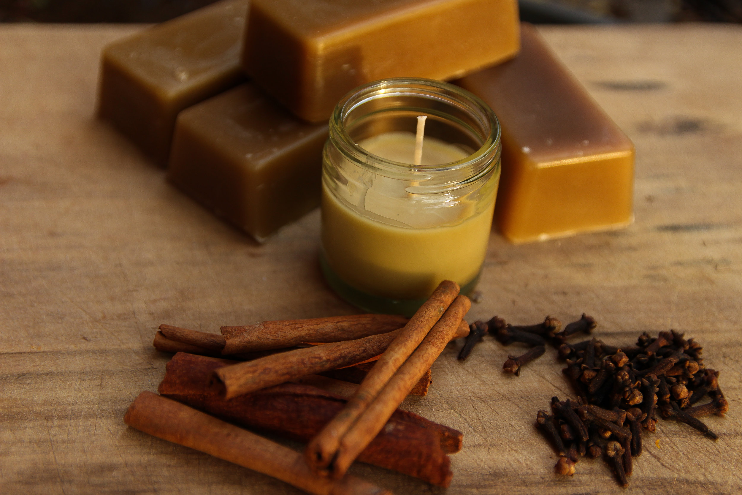 Melbourne, Australia, 2018- Organic beeswax candles with clove and cinamon bark essential oils