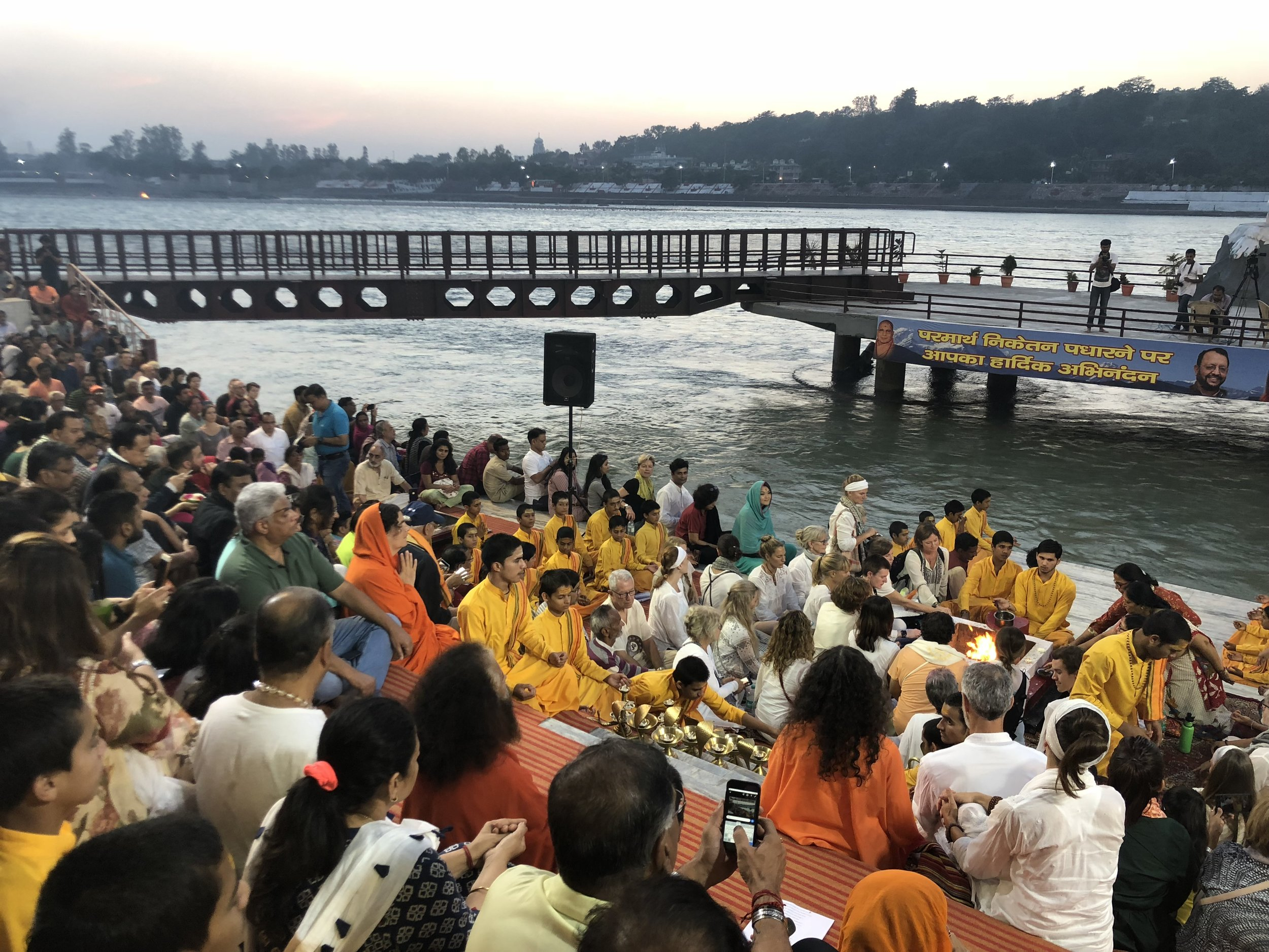 Fire Puja or Havan in Rishikesh on the banks of the Holy Ganges River.