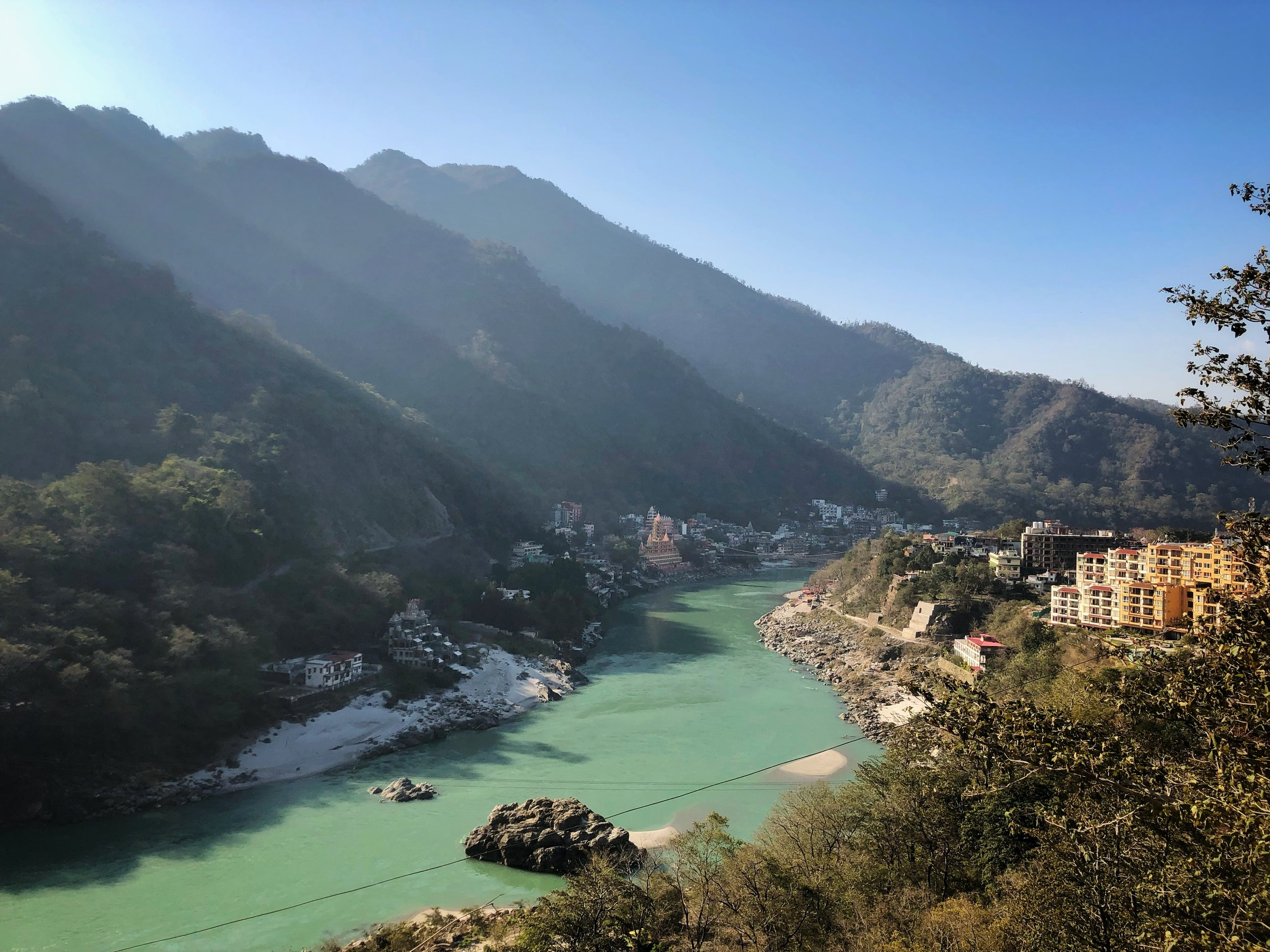The Holy Ganges River at Rishikesh near the source of the river.
