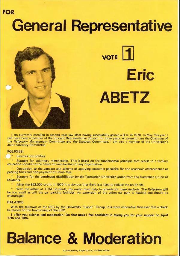 Life Member and fomer President, Senator Eric Abetz flyer for the SRC elections - 1980