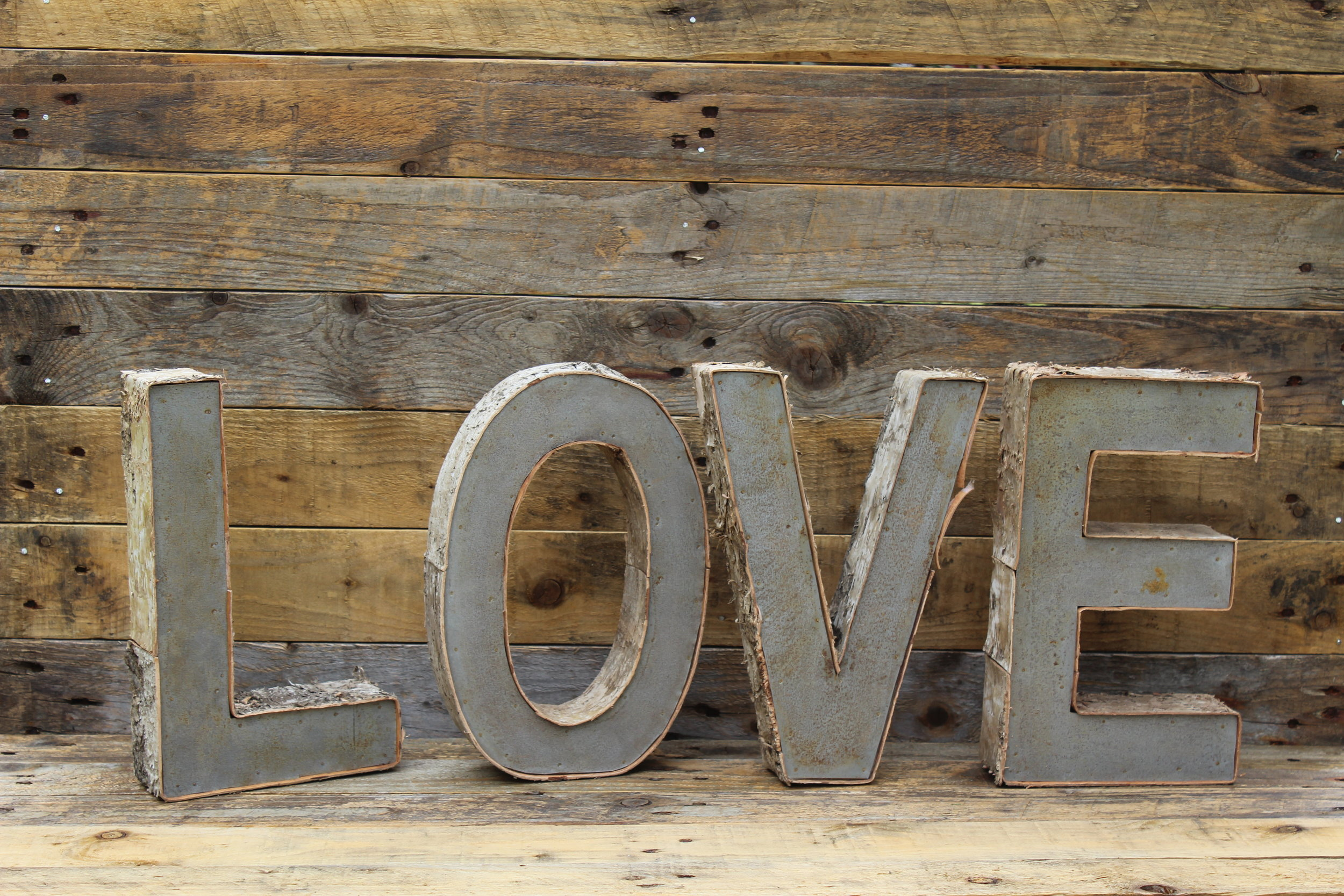 - Birch and metal freestanding LOVE letters£15