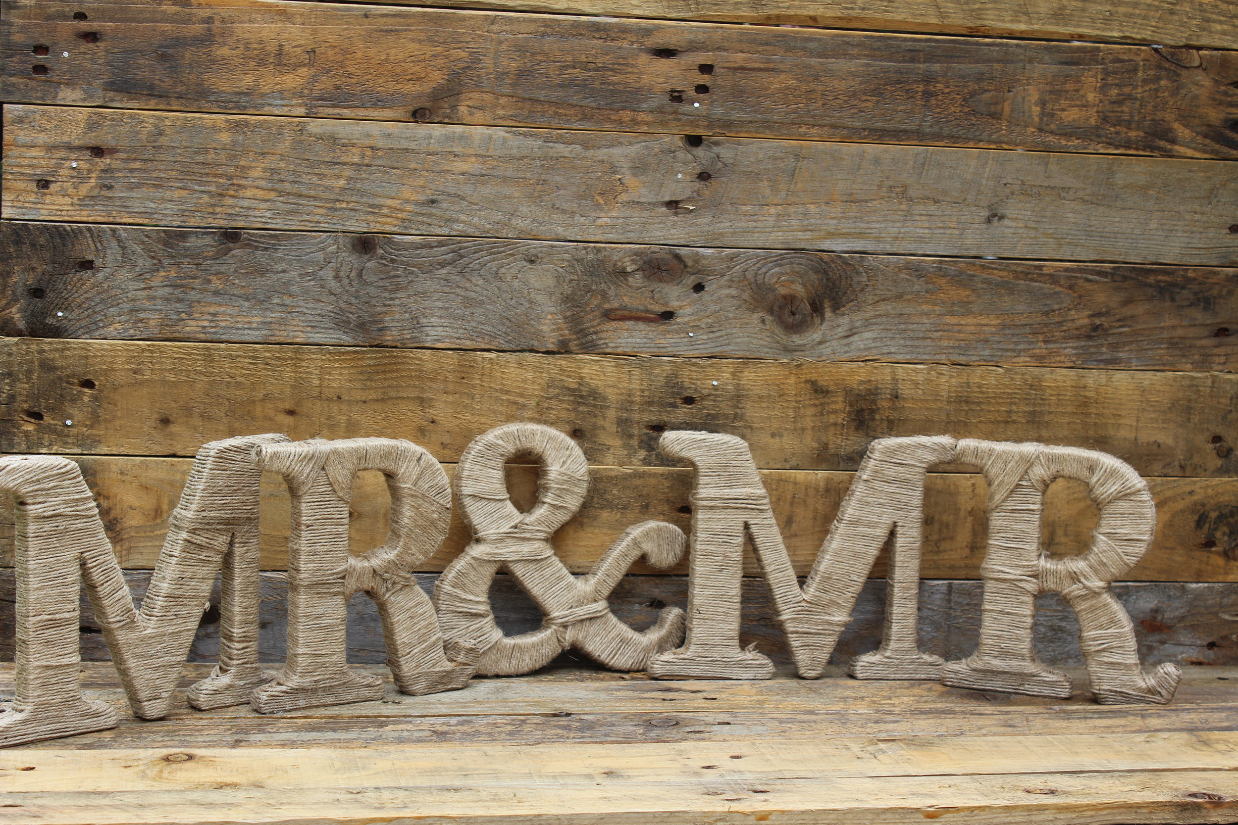 - Mr & Mr/s twine wrapped letters£2 each