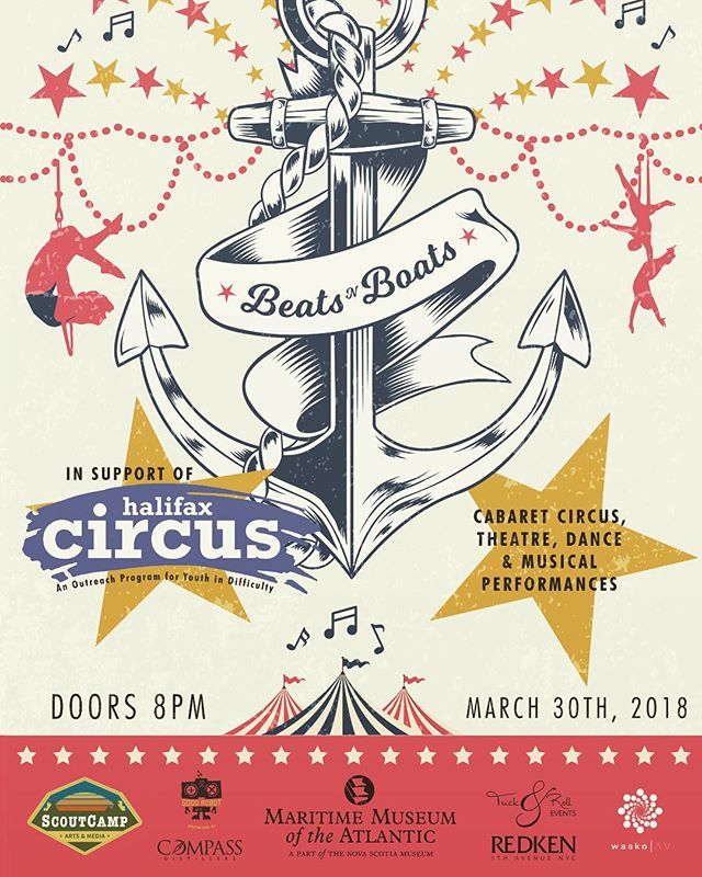 Beats 'n Boats Mixes Music, Art, and Circus Performances March 30 in #halifax In Support of Halifax Circus Circle, A Youth Outreach Program, Presented by Scout Camp & Maritime Museum of the Atlantic  Tickets on sale Friday, March 2nd, at 10am!  @scoutcampevents @ns_mma @halevents @halifaxnoise @discoverhalifax  #circus #novascotia #music #art #halifaxcircuscircle #youthoutreach #cabaret 🍻 Beers by @goodrobotbrew