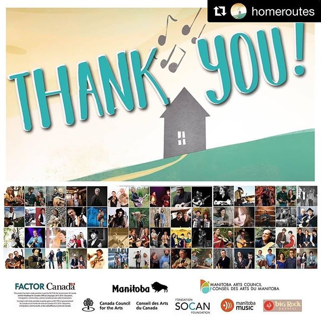 #Repost @homeroutes . . 🙏 🙏 🙏  A VERY SPECIAL THANK YOU to the talented touring artists, appreciative audiences, volunteer concert hosts, supporters and generous funders. Because of your dedication and endeavours, 164 tiny, small, and large communities across Canada participated in the 11th Annual Home Routes / Chemin Chez Nous National House Concert Program.  Artists received tour revenue of more than $377,000 from admissions, workshop fees and CD sales, plus additional $64,000 in performance royalties.  All this was organized by the staff team of 4, supported by our National Board of Directors of 9, but only made possible by everyone who participated in the tremendous success this season. Special mention goes to 64 touring acts, 20,000 audience members, more than 300 volunteers, our funders and supporters.  We enjoy helping both artists and communities win with folk music!  Organizing now for our 2018/2019 Concert Season #12 starting this September and running through until April. Send us a note if you'd like to host concerts in your living room! #houseconcert #supportthearts #ittakesavillage #canada #homeroutes #homerouteshouseconcerts #thankyousomuch #sharetheexperience #musiclovers