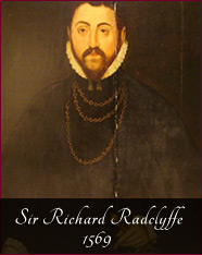 """Sir Richard Radclyffe - 1569 - Foxdenton Estate was acquired through marriage in 1367. In the early years the family continued with its tradition of serving the King in the French Wars and the grandson of the first owner was Knighted at the Battle of Agincourt in 1415.Throughout the fourteen hundreds the estate was as often run by wives as by husbands given their absence in the wars. Sir John Radclyffe and his son Richard were both killed at the Battle of Paris in 1431 leaving widows in charge. In the 1500s there were disputes over ownership between brothers due to one of them leading """"an ungodly life"""".Sir Richard in this portrait took over the estate in 1579 and was a soldier as well fighting at the Siege of Leith and against the Northern Rebellion of 1569."""
