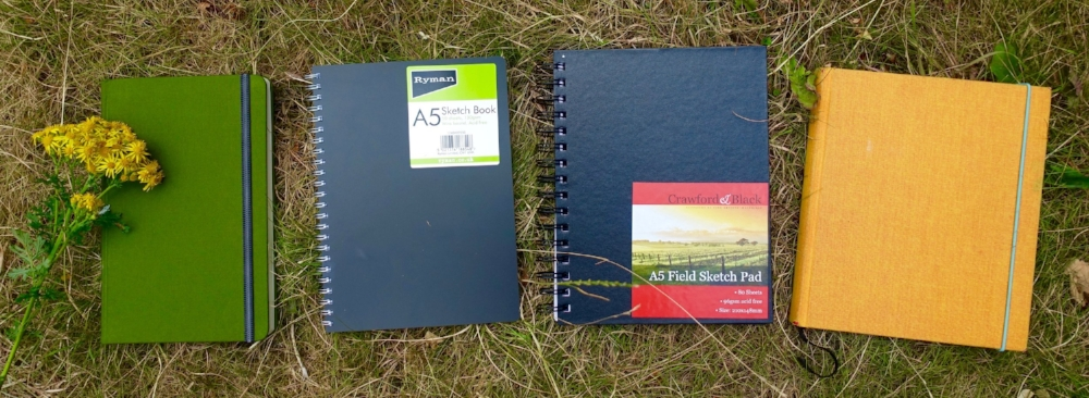 I now prefer hardbound, a5 (portrait) sketchbooks. l-R: Travelogue Hand Book; Ryman's sketch book; crawford&black field sketch pad (from the works) and bookbinders design blank notebook.