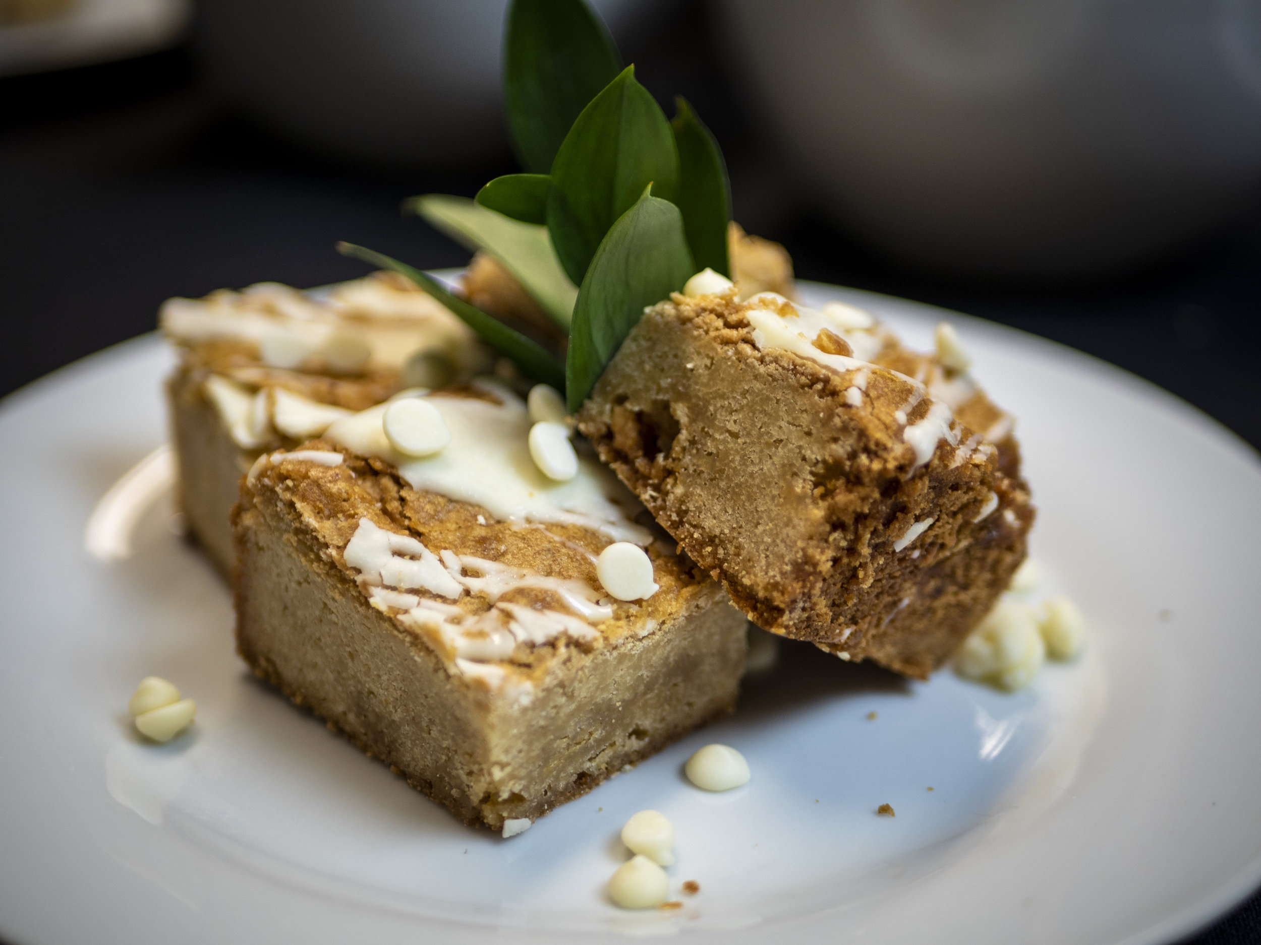 Pumpkin Spice Bars - Beat together:1 ¼ cup pumpkin2 eggsStir in:1 stick & 2 tablespoons soft butter2 cup brown sugar2 teaspoons of vanilla1 ¼ cup flour1 ½ teaspoon pumpkin pie spice1 ½ teaspoon nutmeg1 ¼ teaspoon baking sodaCombine & mix above ingredients and put in ½ sheet pan, greased and floured.Bake at 375 degrees F for approximately 30 minutes. Test if done with toothpick.Topping1 ¾ Cup Flour1 ¼ Cup Melted Butter1 ½ Cup Brown Sugar1 ½ Cup Chopped Pecans2 ½ Teaspoon Cinnamon1 Teaspoon Pumpkin SpiceCombine and mix until crumbly. Spread on top of bars.