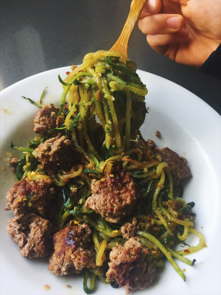 Garlic zucchini pesto noodles with grass-fed beef meatballs and chilli.