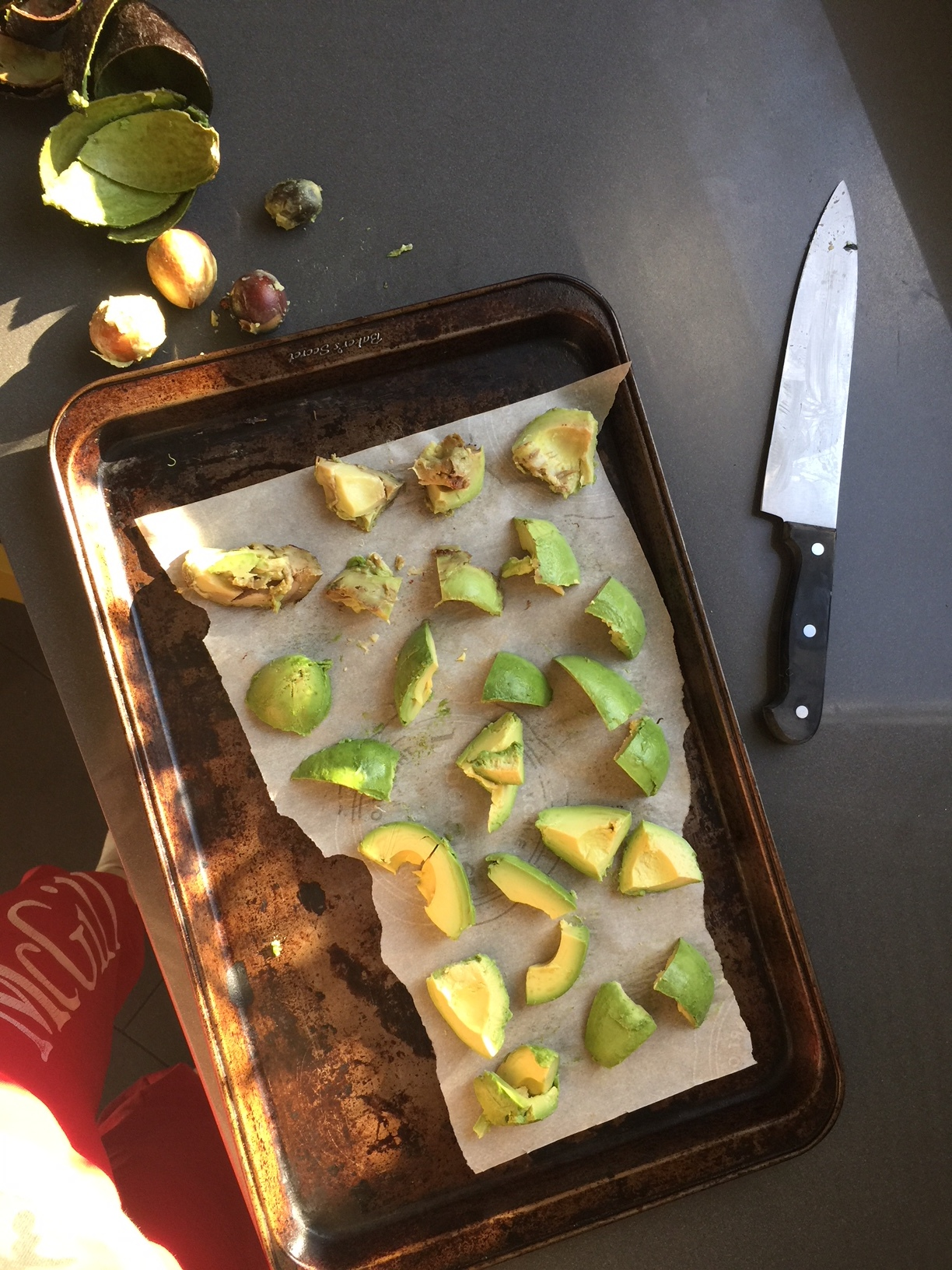Freezing perfectly ripe avocados (and steamed veggies) to easily add in to smoothies