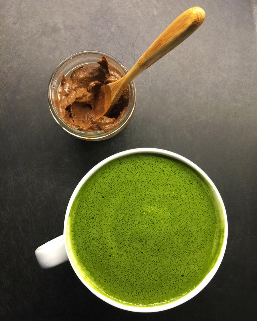 A pot of collagen rich, delicious chocolate-y frosting and a big mug of adaptogen-packed matcha. #breakfastgoals