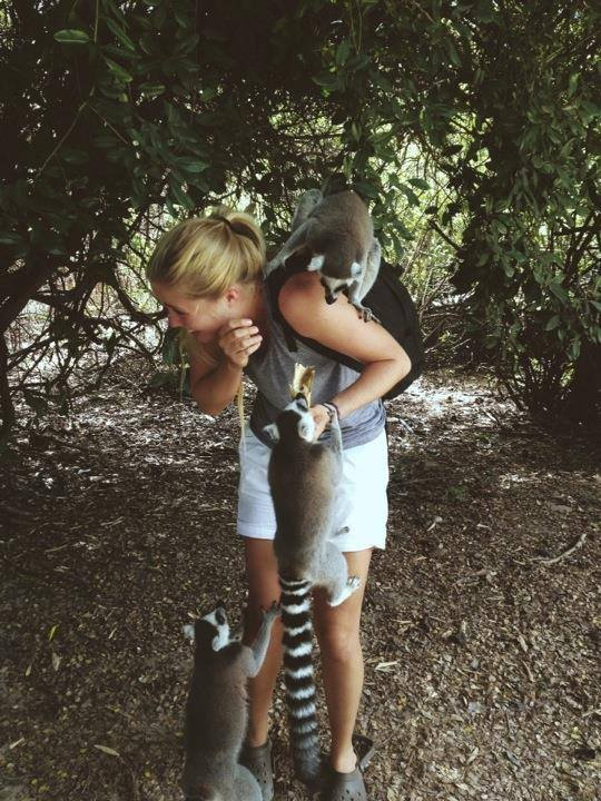 Playing with the Lemur's on Necker Island, in 2013.