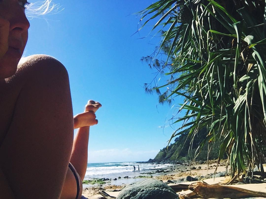 Basking in the sun on the eve of a new moon-at one of my favourite beaches on this planet: Watego's, Byron Bay, Australia.