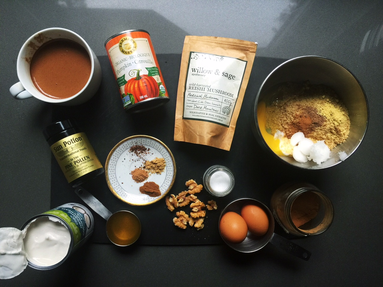 All the goods! (plus a big mug of medicinal hot chocolate laced with reishi and pine pollen)