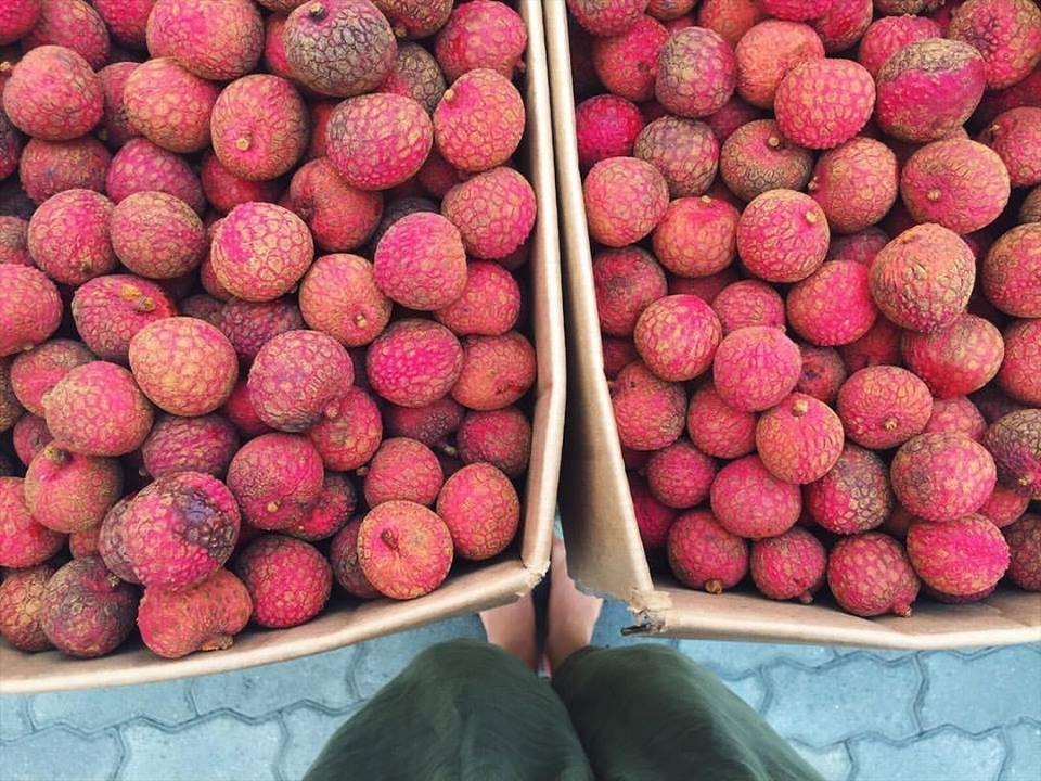 Lychee season at the farmers markets.