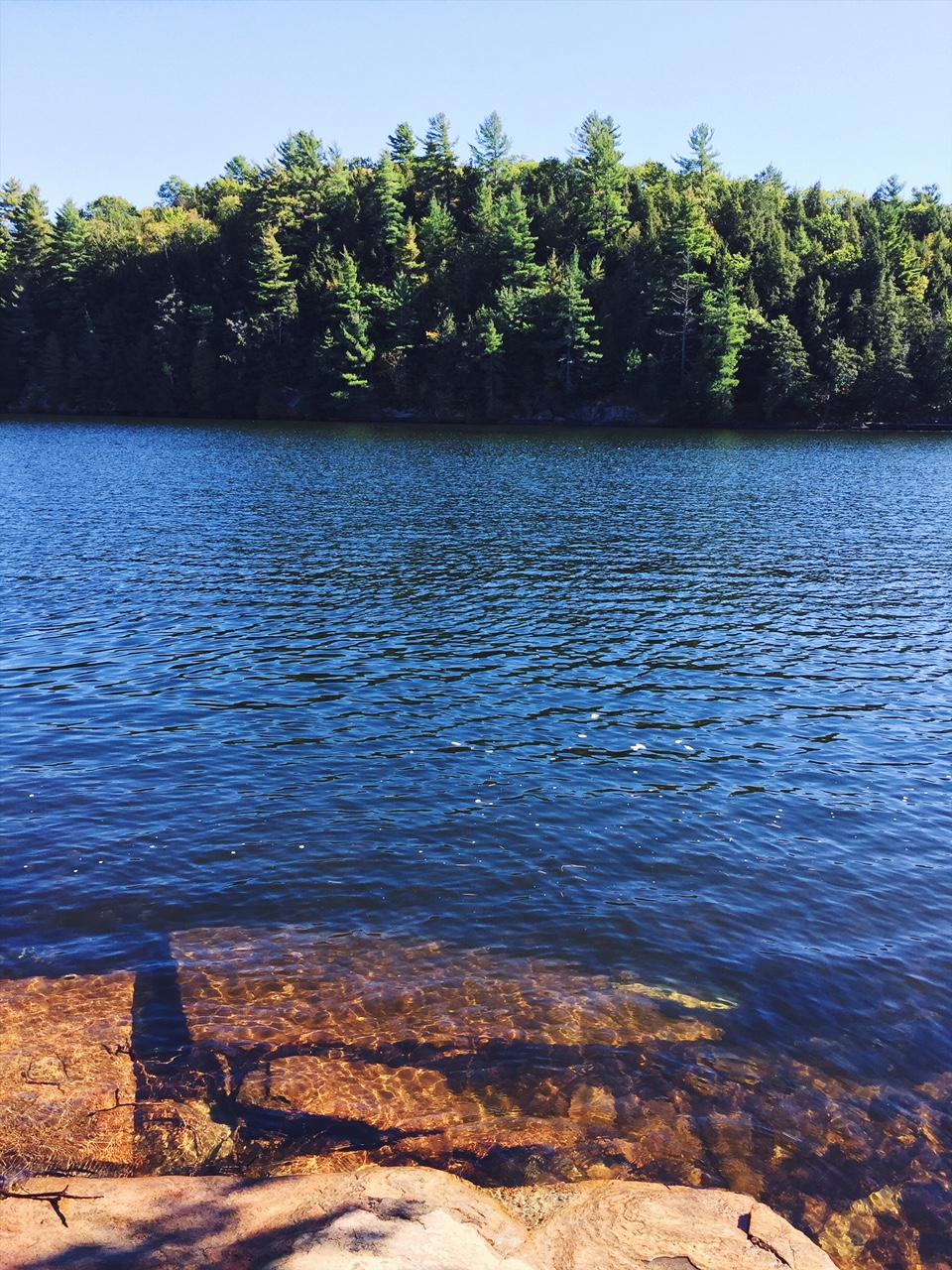 Nudie swims at Lake Kawagama, in the Muskoka region of Northern Ontario, Canada.