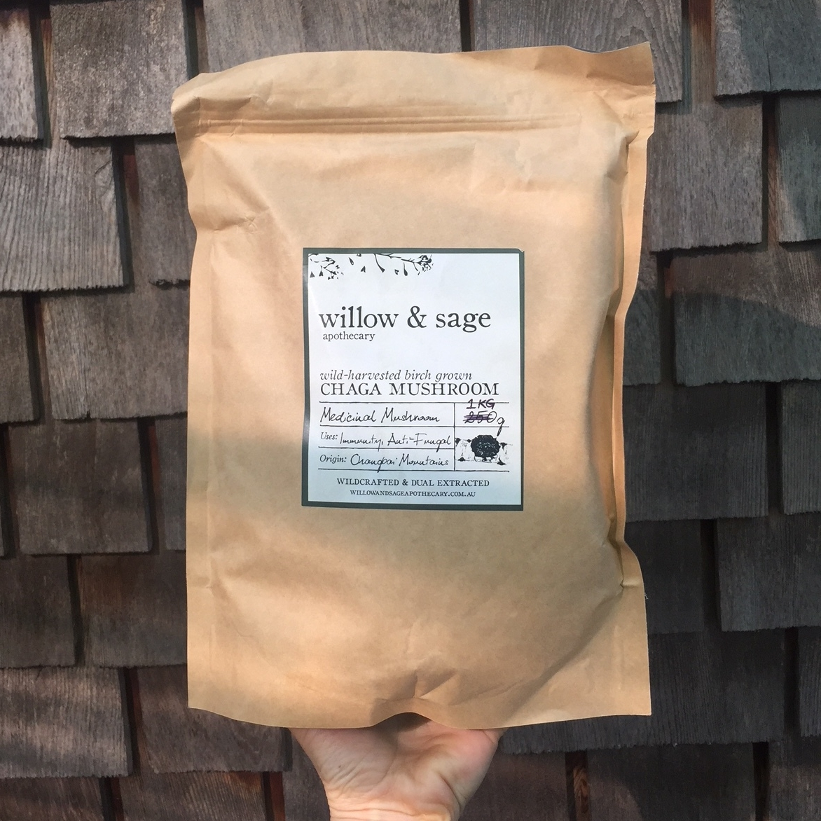I buy Willow & Sage Apothecary's dual extracted wild harvested Chaga by the kilo. The price is more than fair, especially when you buy in bulk (competing companies are selling the same product for  double the price). Click image for more info.
