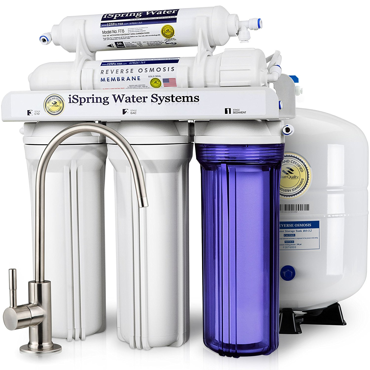Reverse osmosis under the sink water filtration system. (Click image for more info)
