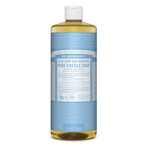 Dr. Bronner's is a natural castile based soap that can be diluted for safe use on the body.